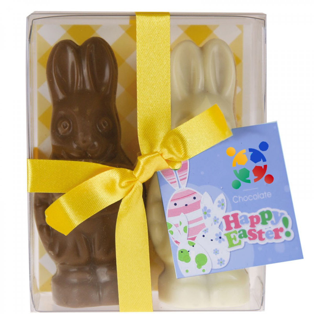 Chocolate easter bunny gift pack easter bunny pack with 2 easter bunny with printed swing tag negle Choice Image