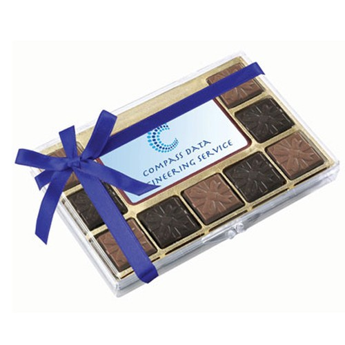 Premium Belgian Chocolate with Ribbon, Custom Printed Centre Piece and 9 Flavoured Premium Belgian Chocolate