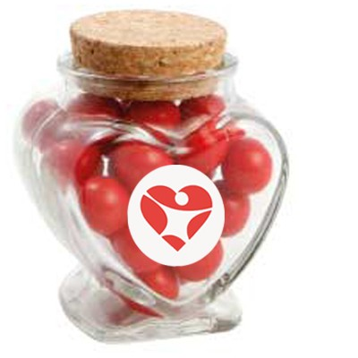 Glass Heart Jar with Choc Red Balls_Jaffa Lookalikes