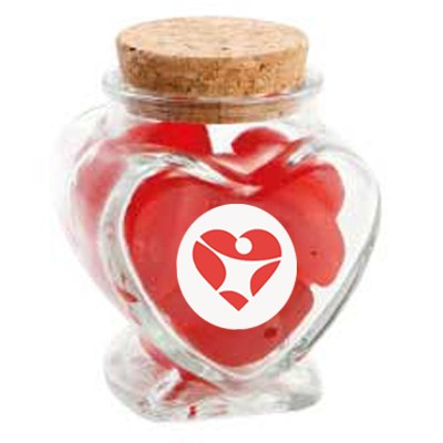 Glass Heart Jar with Red Lips