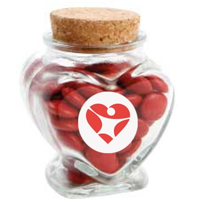 Glass Heart Jar with Chocolate Gems (Corporate Colour)