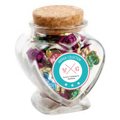 Glass Heart Jar with Toffees