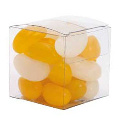 Small Clear Cube with Mini Jelly Beans (Corporate Colour)