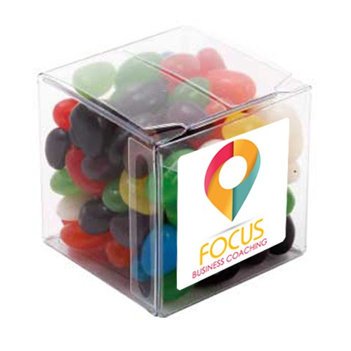 Big Clear Cube with Mixed Mini Jelly Beans