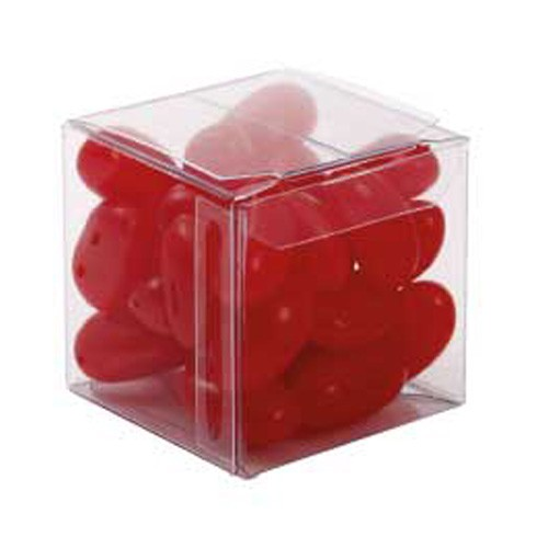 Big Clear Cube with Mini Jelly Beans (Corporate Colour)