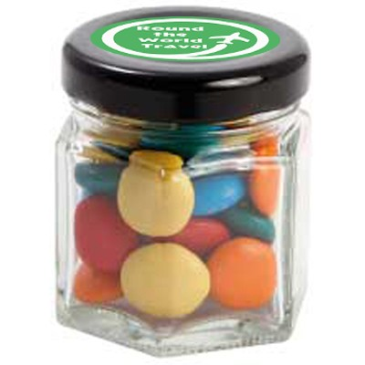 Small Hexagon Jar with Mixed Chocolate Gems