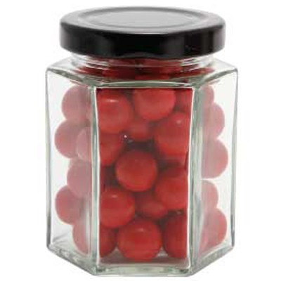 Large Hexagon Jar with Choc Red Balls_ Jaffa Lookalikes