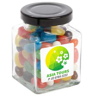 Small Square Jar with Mixed Mini Jelly Beans