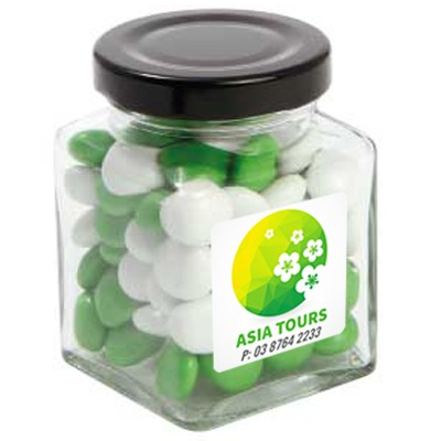 Small Square Jar with Chocolate Gems (Corporate Colour)