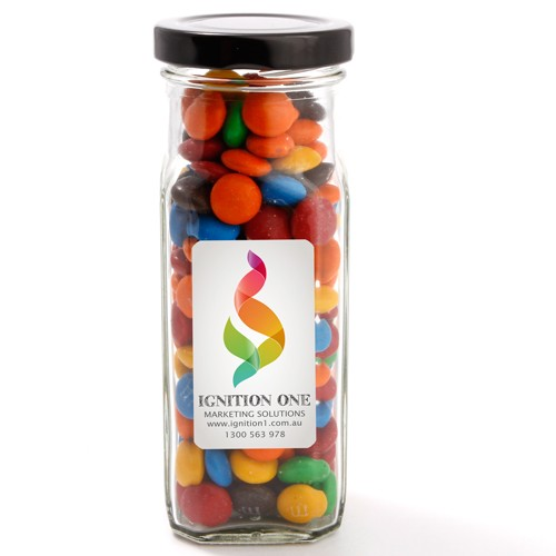 Large Square Jar with M&M's