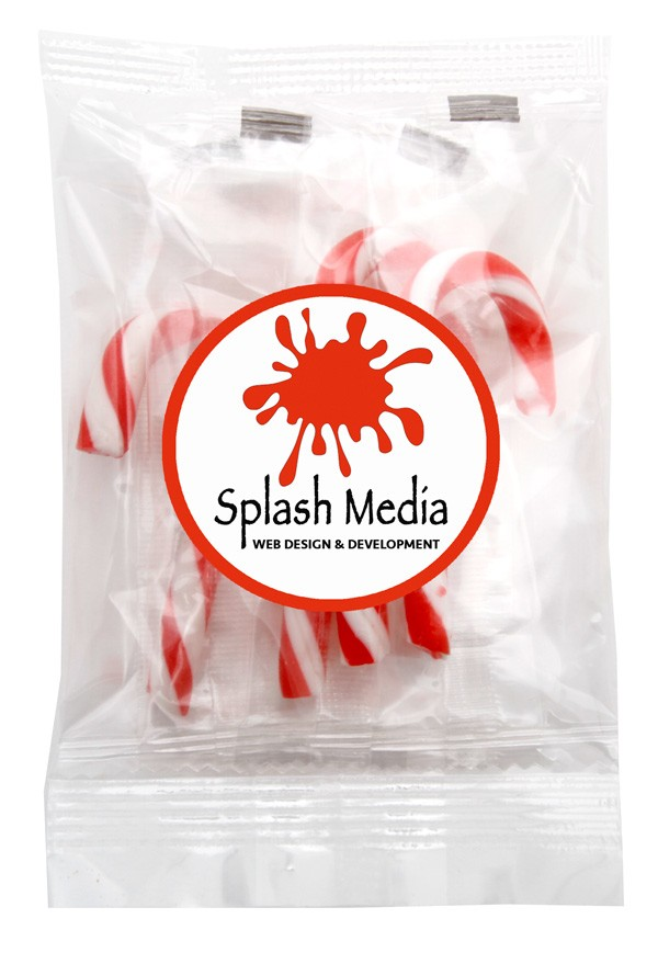 Mini Candy Canes-in Clear Cello bag with Sticker