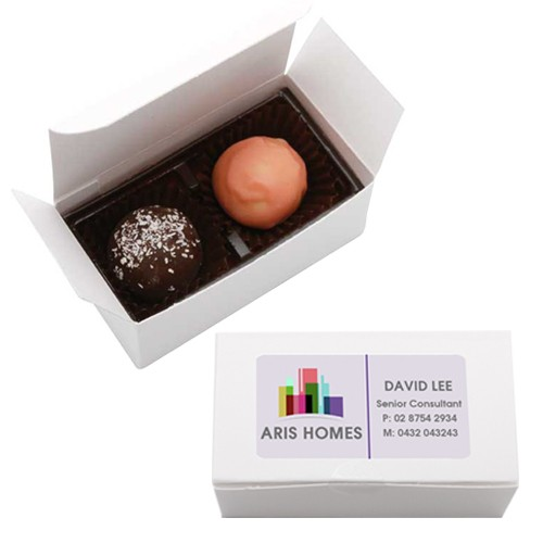 White Gift Box X 2 with Flavoured Chocolates/Truffles