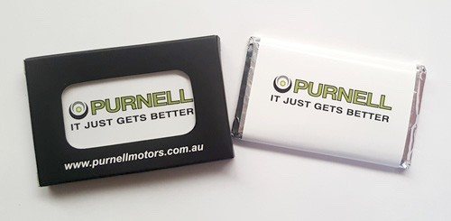Small Chocolate Bar with a custom printed wrapper and Custom Printed Box