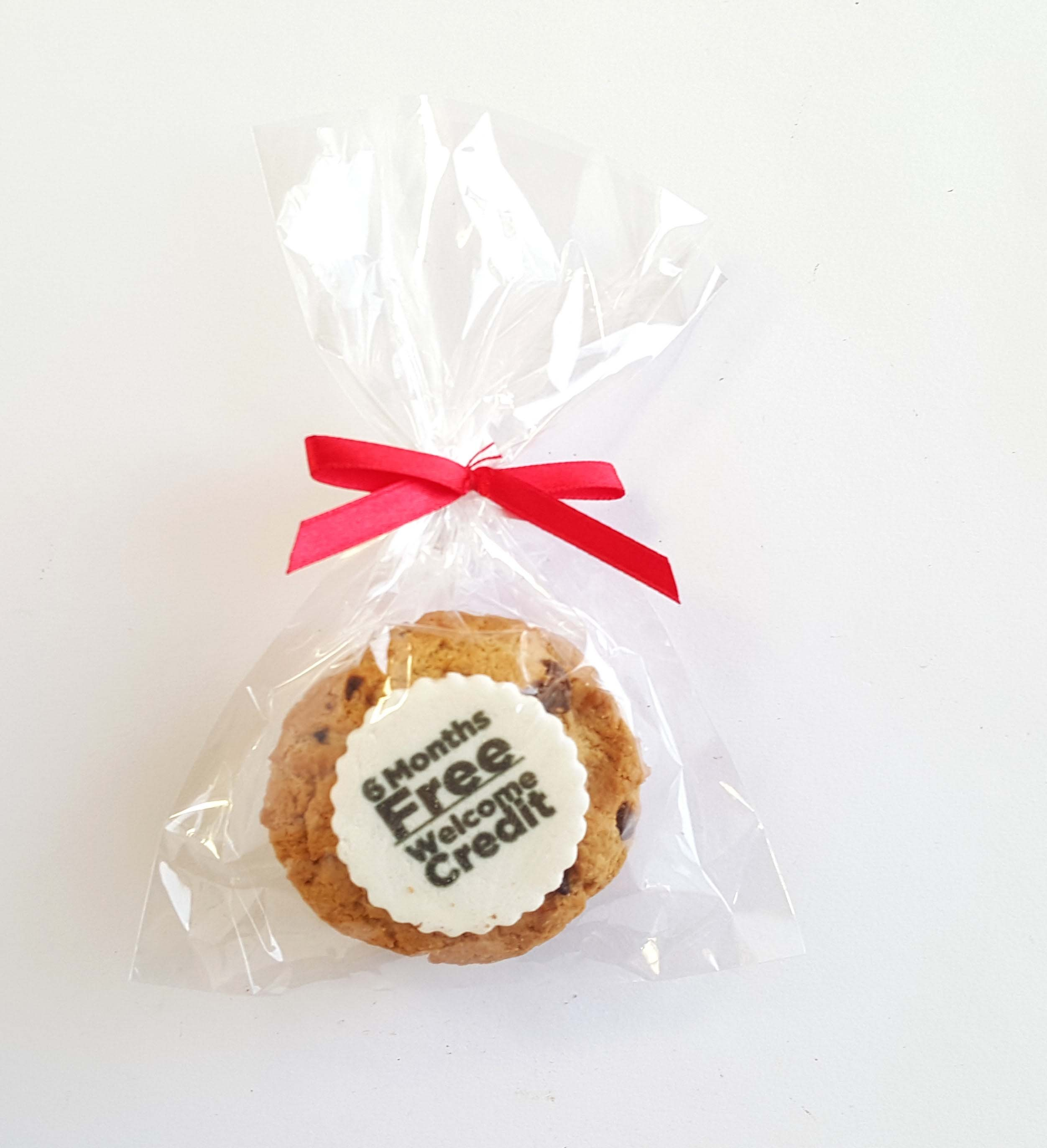 Pack of 2 Printed Cookies with Twist Tie Red Bow Ribbon.