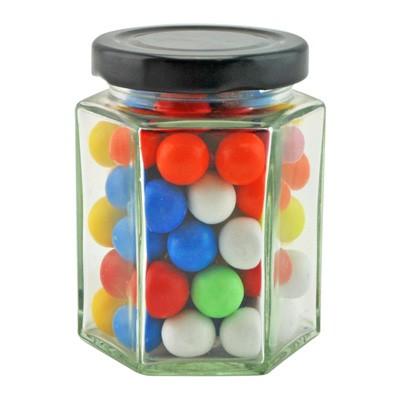 Large Hexagon Jar with Mixed Chocolate Balls
