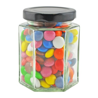 Large Hexagon Jar with Mixed Chocolate Gems