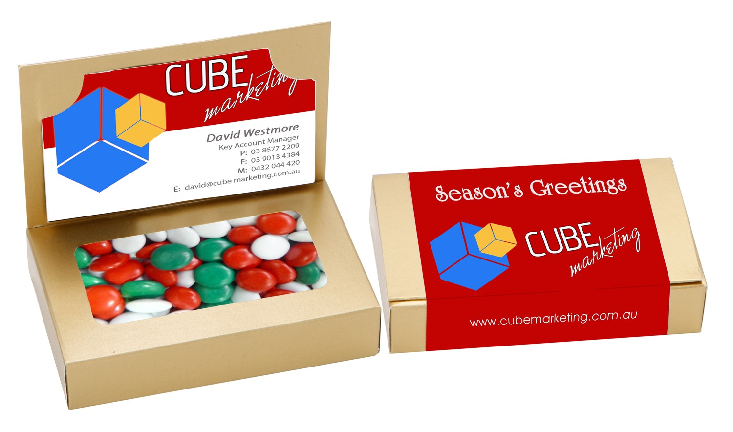 Business Card Box with Mixed Chocolate Gems