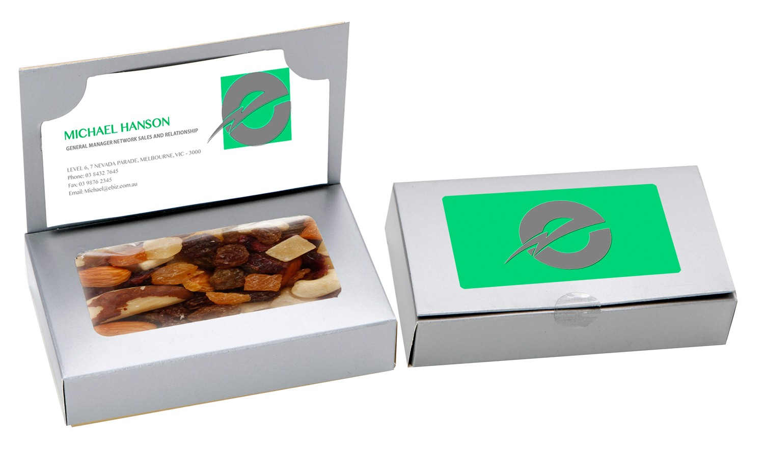 Business Card Box with Fruit n Nut Mix