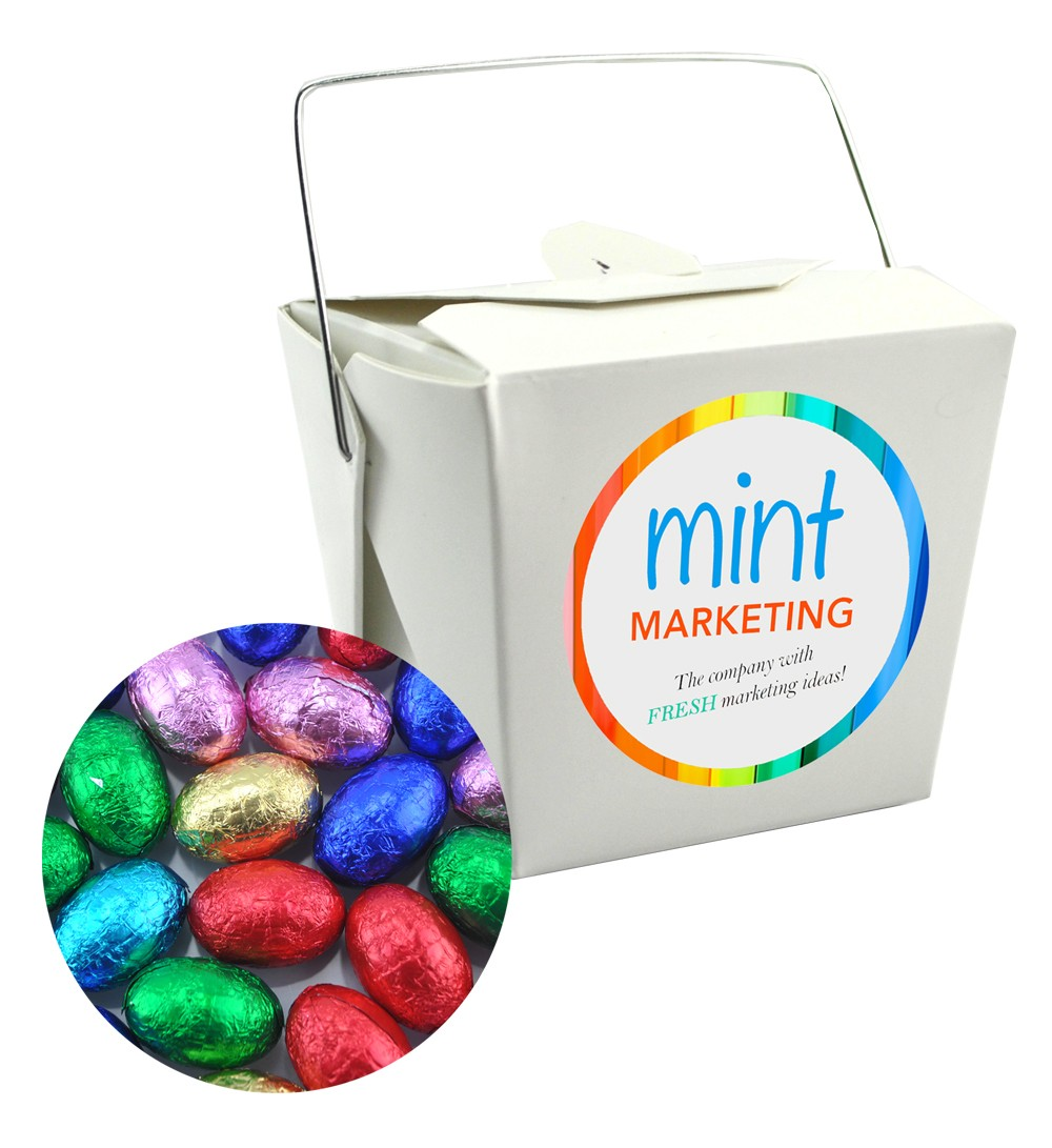 Paper Noodle Box filled with 15 Mini Easter Eggs Assorted