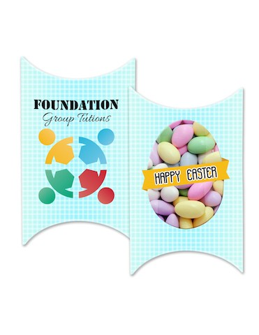 Custom Printed Window Easter Pillow box with your own design with with Sugar Almonds