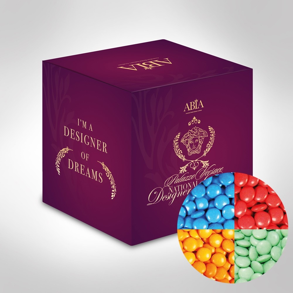 Custom Printed Mini Cube with Chocolate Gems (Corporate Colour)