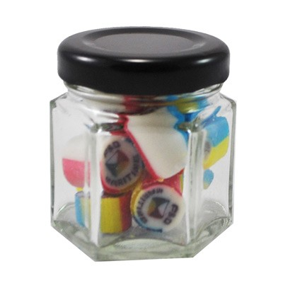 Custom Colour and Flavour Rock Candy in a Small Hexagonal Jar