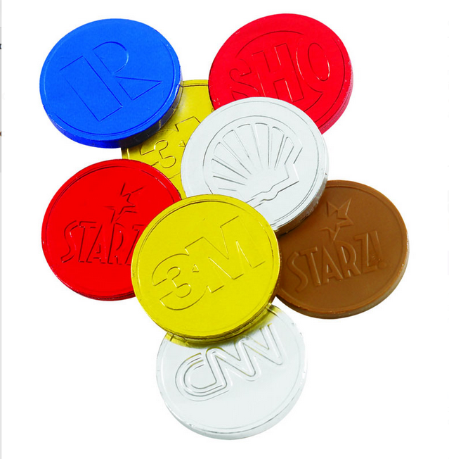 Custom Colour Foiled- Belgian Chocolate Coins(Min 1k)