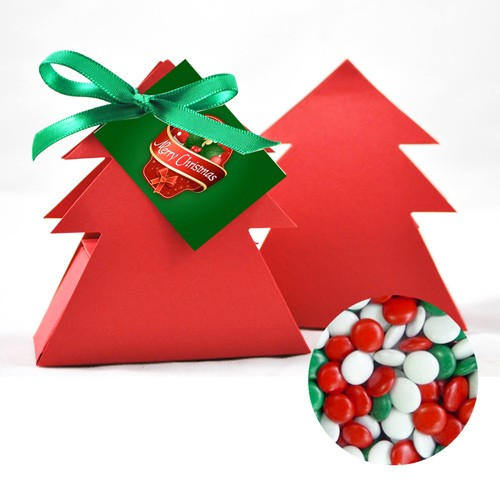 X-mas Tree with Chocolate Gems and Custom prnted Swing tag