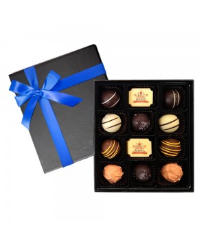 12pc Chocolate Gift Box filled with 2 Premium Printed Chocolates and 10 Flavoured chocolates with Ribbon