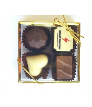 4pc Belgian Chocolate Gold Gift Box filled with 1 Premium Printed Belgian Chocolate and 3 Belgian flavoured chocolates