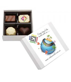 Belgian Chocolate Gift Box with Printed Chocolate and Custom Printed Sleeve (White Box)