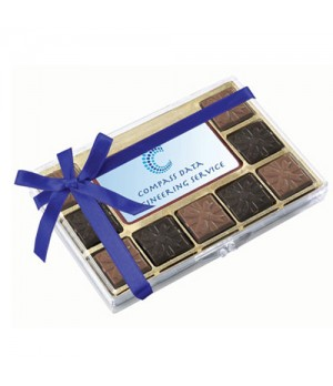Premium Belgian Chocolate with Custom Printed Centre Piece and Ribbon