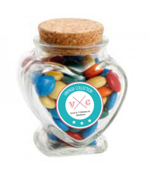 Glass Heart Jar with Mixed Chocolate Gems