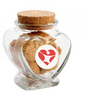 Glass Heart Jar with Mini Cookies
