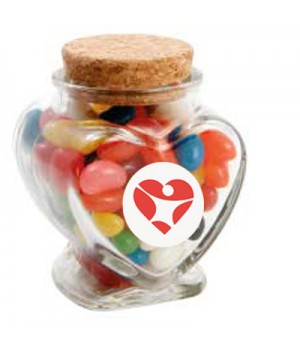 Glass Heart Jar with Mixed Mini Jelly Beans