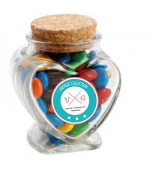 Glass Heart Jar with M&Ms