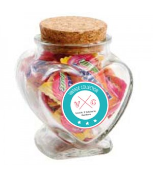 Glass Heart Jar with Mentos