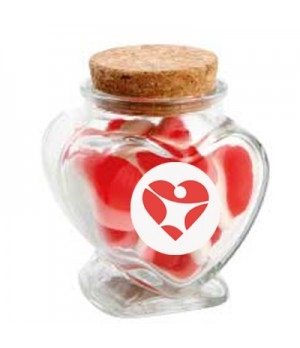 Glass Heart Jar with Strawberries & Cream