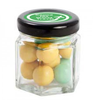 Small Hexagon Jar with Chocolate Balls (Corporate Colour)