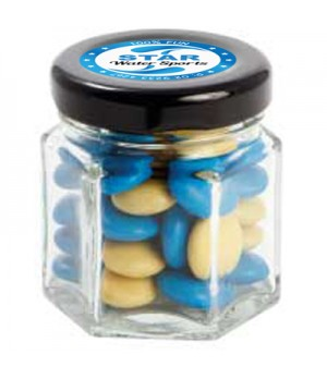Small Hexagon Jar with Chocolate Gems (Corporate Colour)