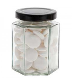 Large Hexagon Jar with Flat Mints