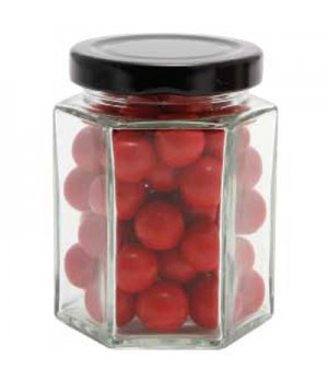 Large Hexagon Jar with Choc Red Balls_ Jaffa Lookalikes