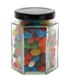 Large Hexagon Jar with Mixed Mini Jelly Beans
