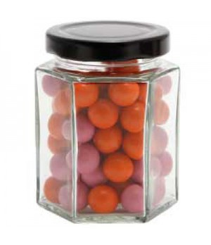 Large Hexagon Jar with Chocolate Balls (Corporate Colour)