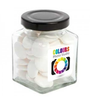 Small Square Jar with Flat Mints