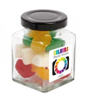 Small Square Jar with Mixed Lollies