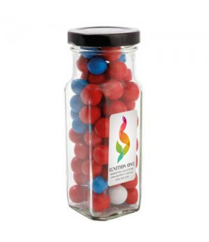 Large Square Jar with Chocolate Balls (Corporate Colour)