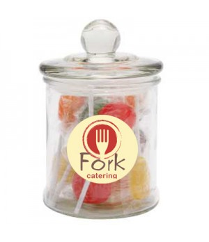 Glass Candy Jar with Flat Lollipops