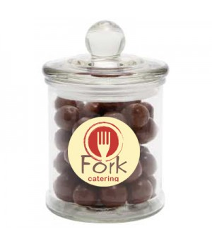 Glass Candy Jar with Malt Balls