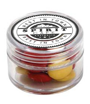 Mini Plastic Jar with Chocolate Gems (Corporate colours)